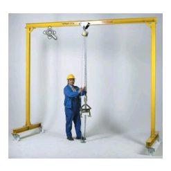 Portalkran i stål med polyamidhjul,  250 kg, H=3 m, L=3 m