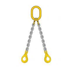 Lyftkätting 1,6 ton, klass 8, 6 mm, 2-part, säkerhetskrok-gaffel