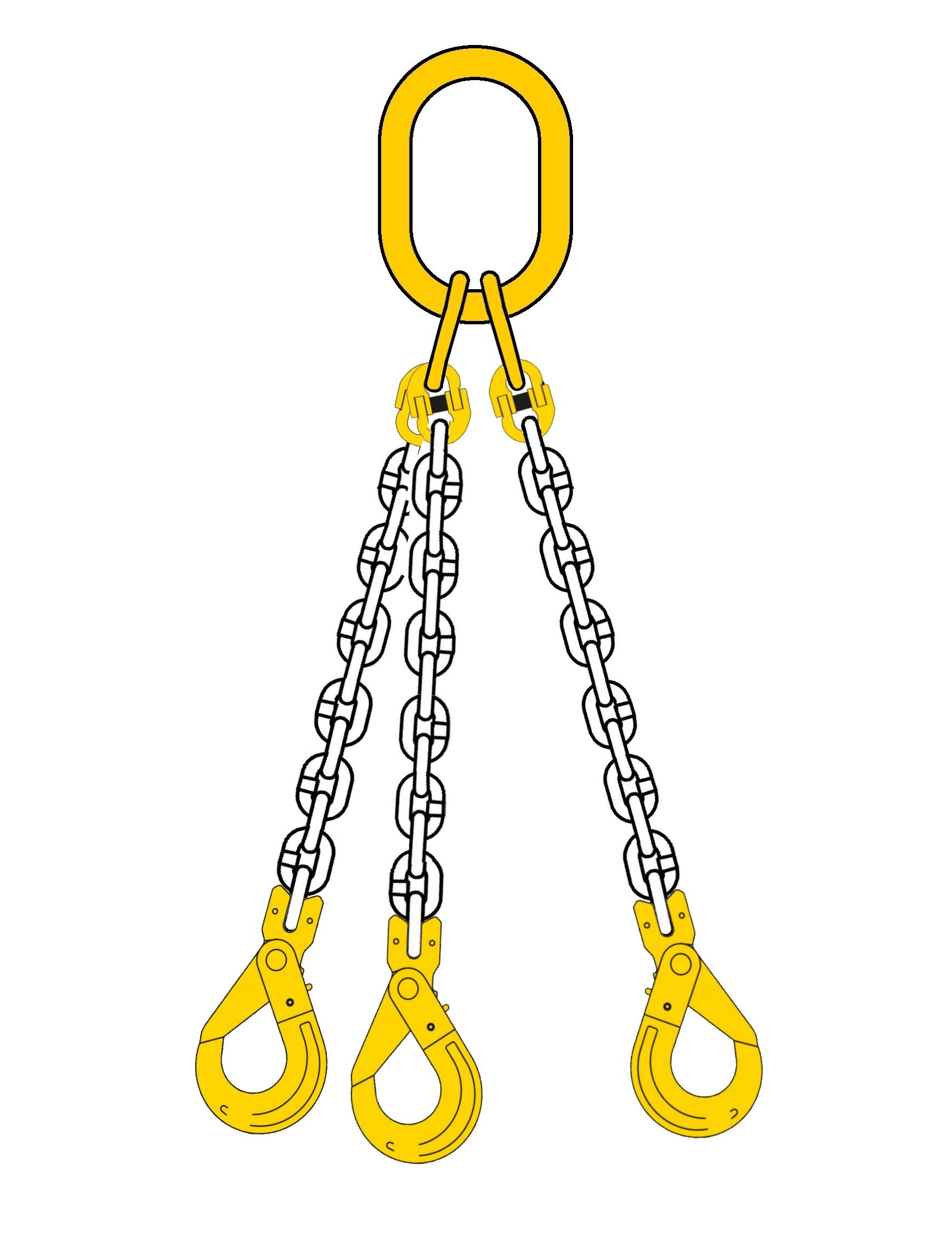 Lyftkätting 2,36 ton, klass 8, 6 mm, 3-part, säkerhetskrok-gaffel
