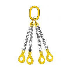 Lyftkätting 2,36 ton, klass 8, 6 mm, 4-part, säkerhetskrok-gaffel